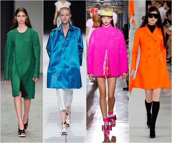 яркие цветные однотонные пальто и плащи весна лето 2014