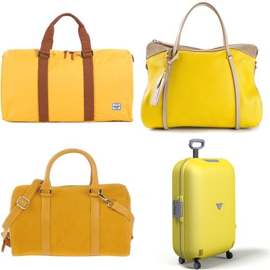 багажные дорожные сумки желтого цвета фото