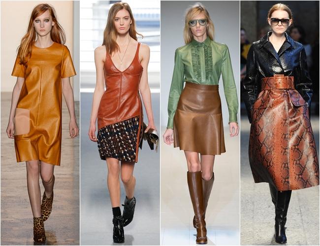 цветная натуральная коричневая кожа осень-зима 2014-2015