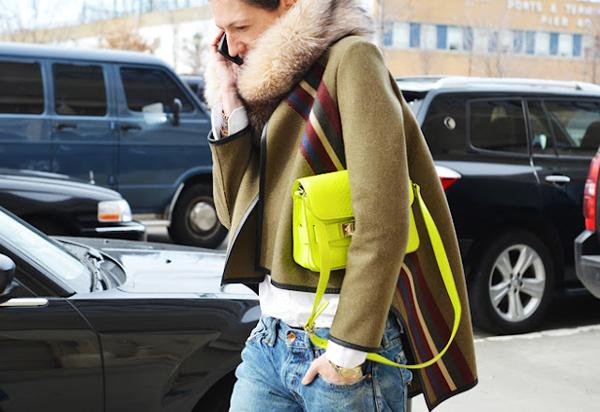 желтая сумка с джинсами и пальто хаки с меховым воротником