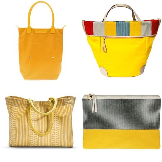 сумка желтого цвета текстильная фото