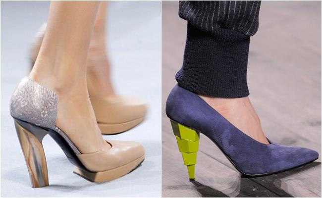 скошенный каблук туфель осень-зима 2014-2015