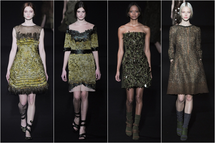 короткие платья хаки коллекция alberta ferretti осень-зима 2014-2015