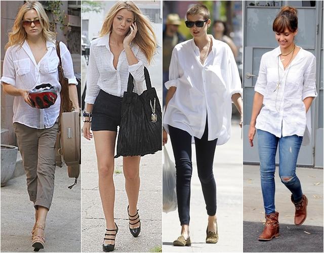 знаменитости в белых рубашках streetstyle
