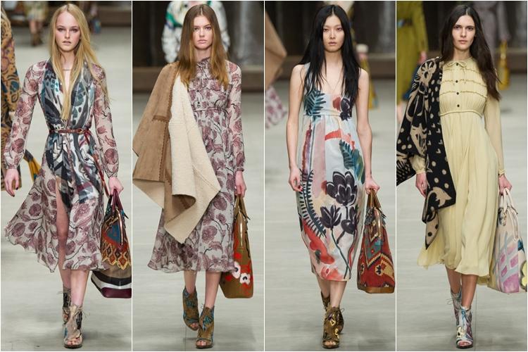 цветочные платья коллекция Burberry Prorsum осень-зима 2014-2015