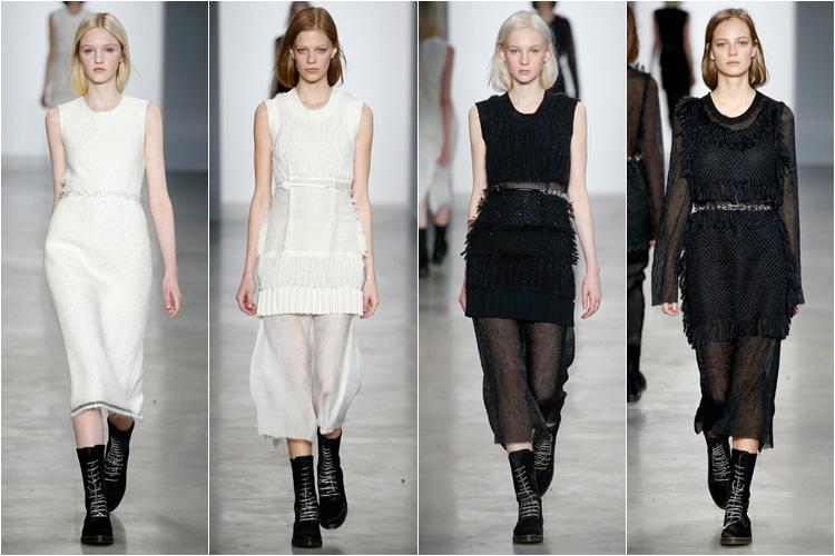 белые и черные платья коллекция calvin klein collection осень-зима 2014-2015