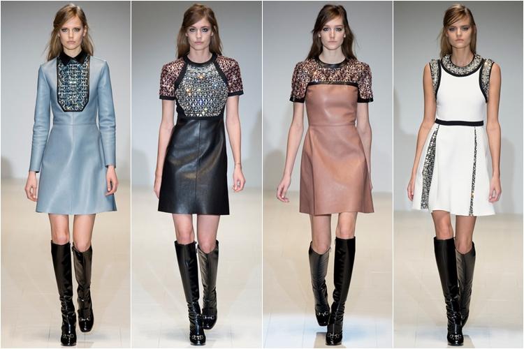 кожаные короткие платья коллекция gucci осень-зима 2014-2015