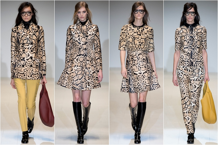 леопардовые плащи и платья коллекция gucci осень-зима 2014-2015