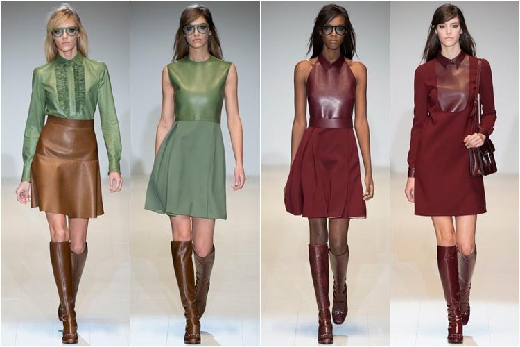 короткие платья из кожи коллекция gucci осень-зима 2014-2015