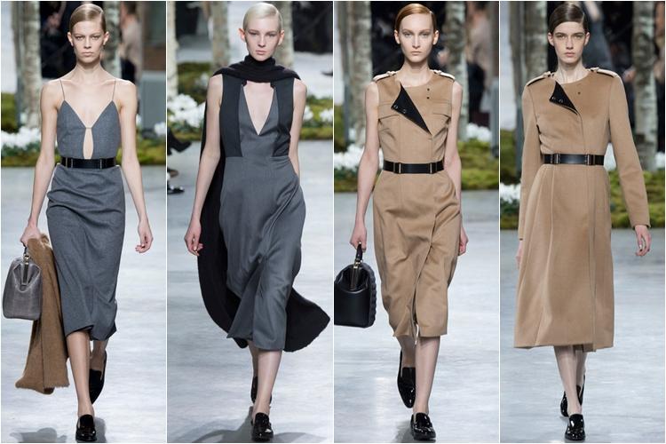 серые и бежевые платья милитари стиль коллекция hugo boss осень-зима 2014-2015
