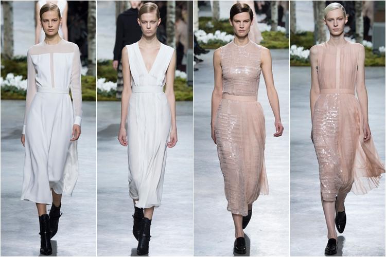 белые и розовые платья коллекция hugo boss осень-зима 2014-2015