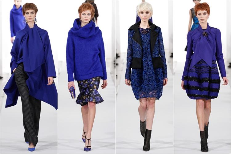 синие платья и костюмы свитера Коллекция Oscar de la Renta осень-зима 2014-2015