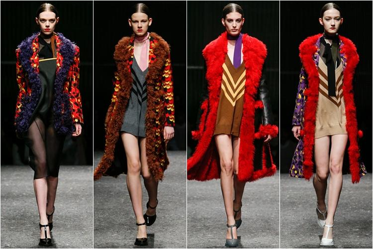 длинные дубленки коллекция Prada осень-зима 2014-2015