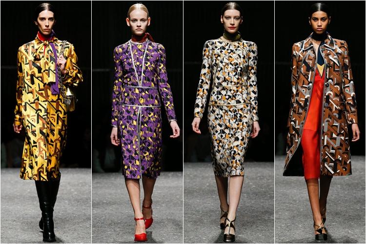 платья с набивным принтом коллекция Prada осень-зима 2014-2015