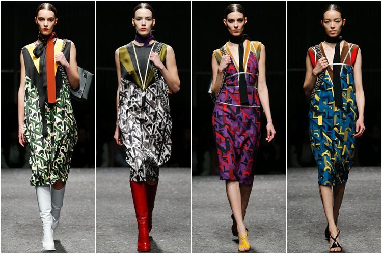 платья с принтом коллекция Prada осень-зима 2014-2015
