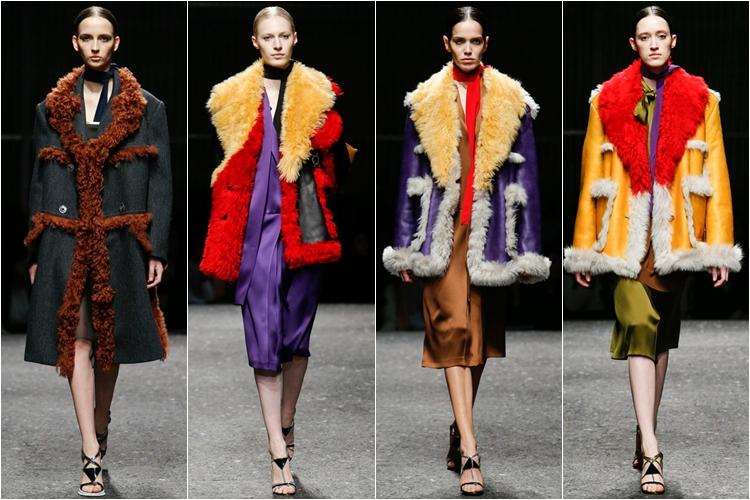 короткие яркие дубленки коллекция Prada осень-зима 2014-2015