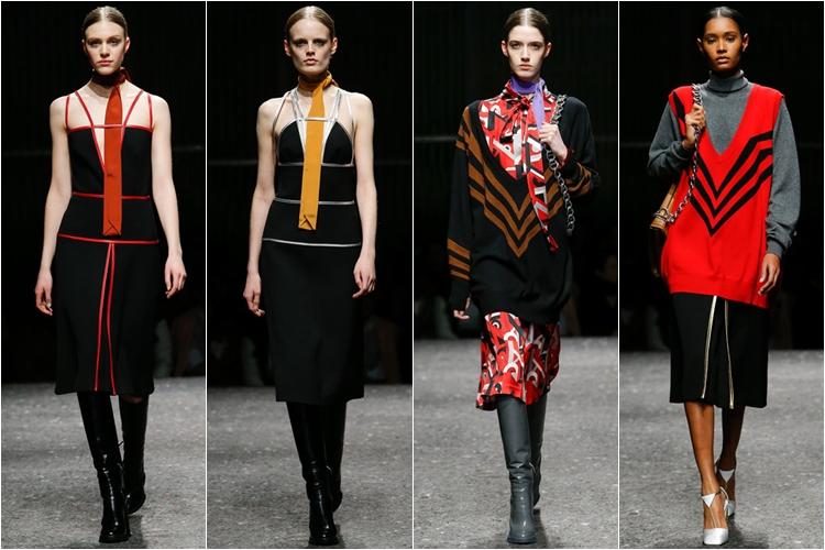 трикотажные свитера и платья коллекция Prada осень-зима 2014-2015