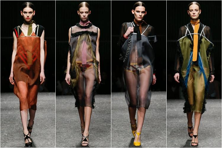 полупрозрачные платья коллекция Prada осень-зима 2014-2015