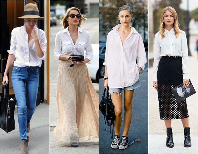 женская белая рубашка с чем носить