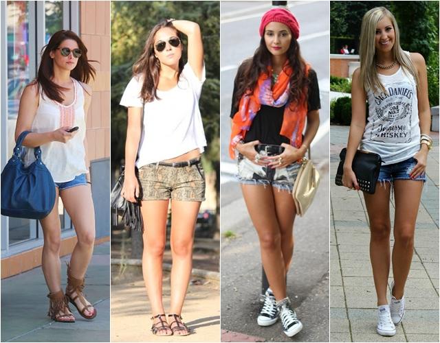 шорты с сандалиями и кедами