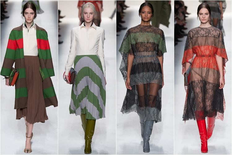 полоска платья коллекция Valentino осень-зима 2014-2015