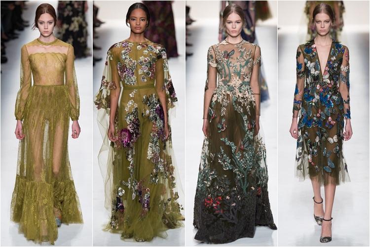 вечерние платья с аппликацией коллекция Valentino осень-зима 2014-2015
