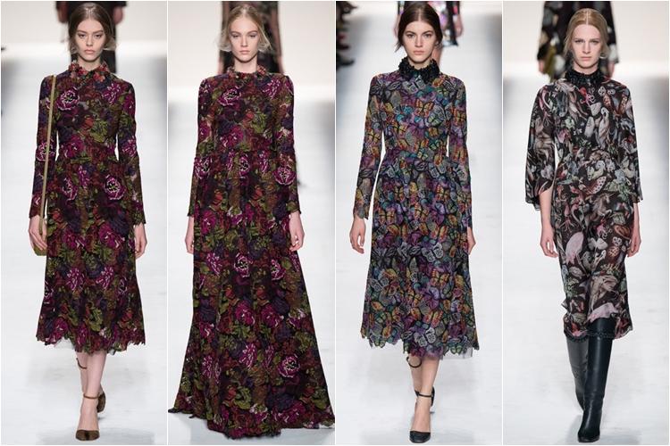 цветочные платья коллекция Valentino осень-зима 2014-2015