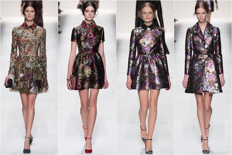 короткие блестящие ретро платья коллекция Valentino осень-зима 2014-2015