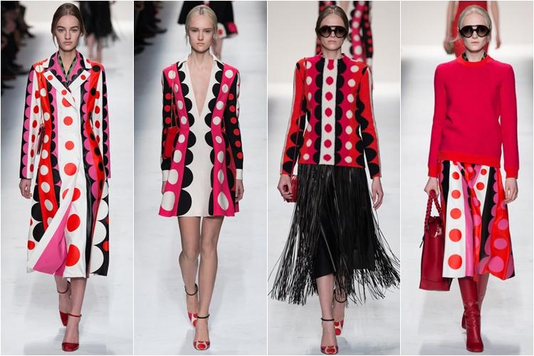 узорчатые яркие платья коллекция Valentino осень-зима 2014-2015