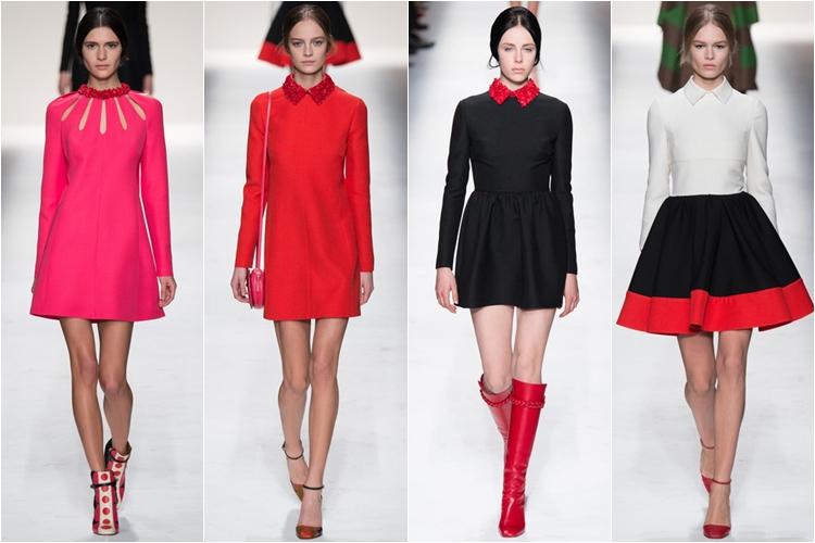 фуксия и черные платья и юбки коллекция Valentino осень-зима 2014-2015