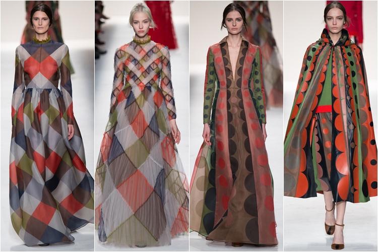 длинные полупрозрачные платья коллекция Valentino осень-зима 2014-2015
