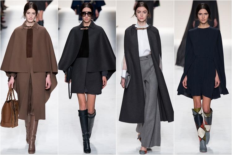 черные кейпы накидки коллекция Valentino осень-зима 2014-2015