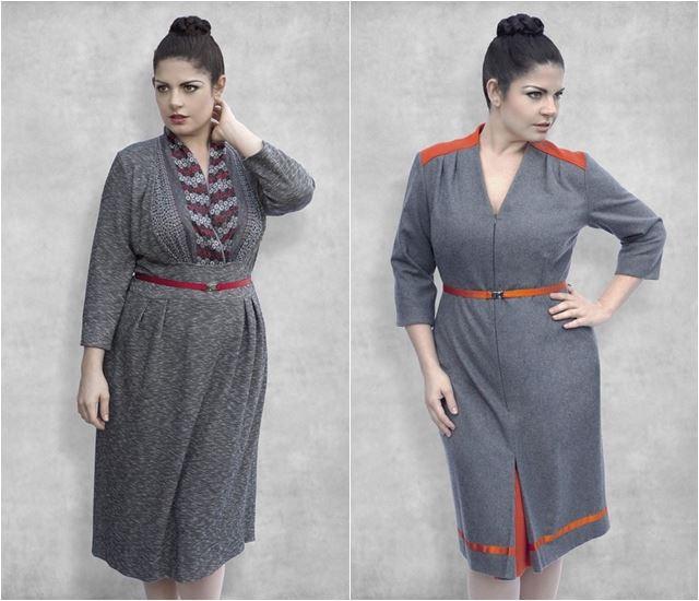 серые женственные платья для полных 2014-2015 Dea London