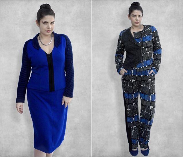 синий костюм для полных 2014-2015 Dea London