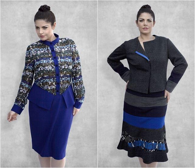 костюмы двойки с юбкой для полных 2014-2015 Dea London