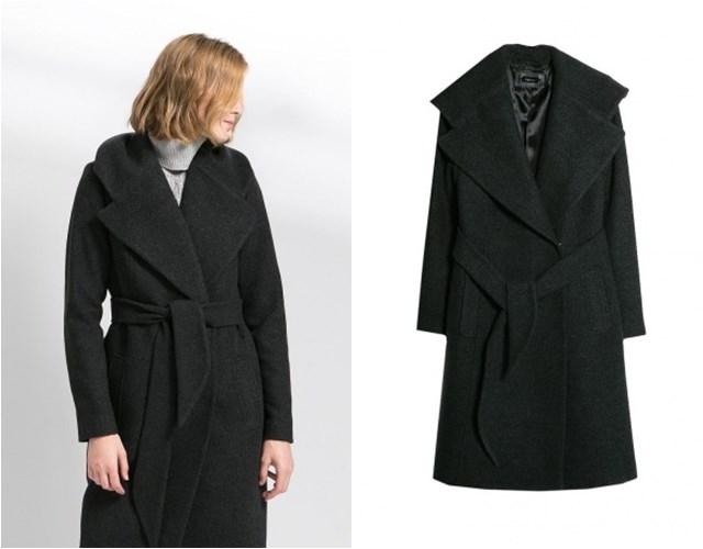 черное пальто Mango осень-зима 2014-2015