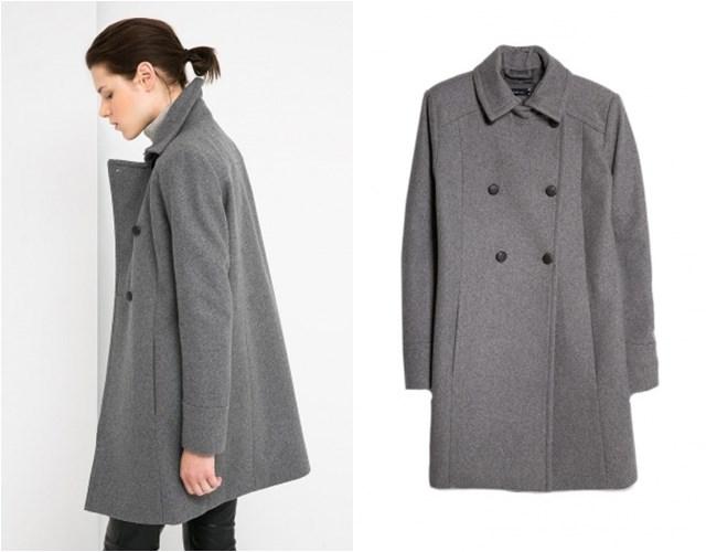 серое двубортное прямое пальто Mango осень-зима 2014-2015