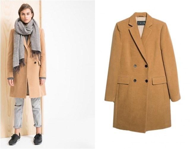 бежевое прямое двубортное пальто Mango осень-зима 2014-2015