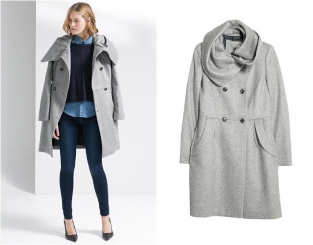 серое пальто Mango осень-зима 2014-2015