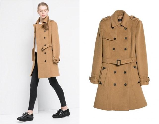 бежевое пальто милитари Mango осень-зима 2014-2015