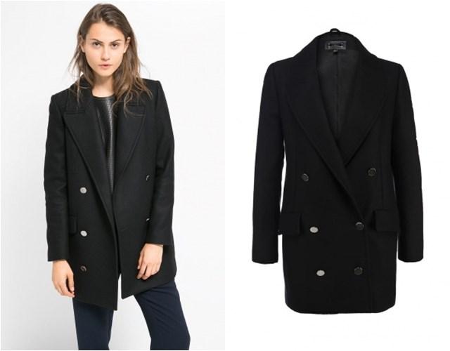 черное пальто бушлат Mango осень-зима 2014-2015