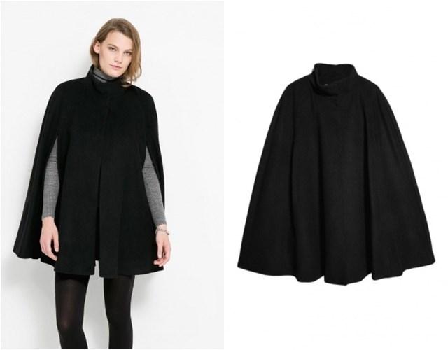 черное пальто кейп Mango осень-зима 2014-2015