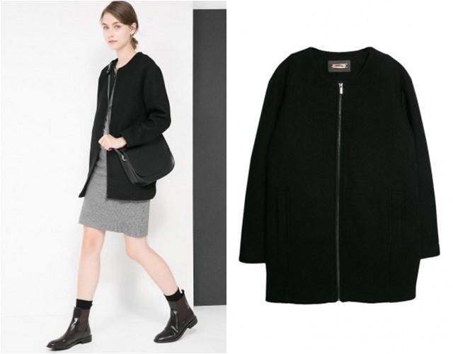 черное пальто на молнии Mango осень-зима 2014-2015