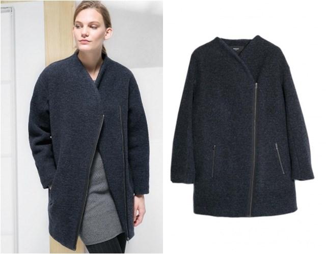 пальто на косой молнии  Mango осень-зима 2014-2015