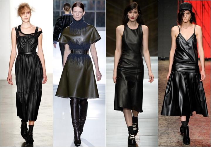 Кожаные стильные платья