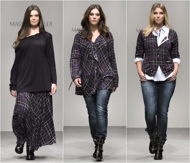 клетчатые рубашки и юбка Marina Rinaldi осень-зима 2014-2015