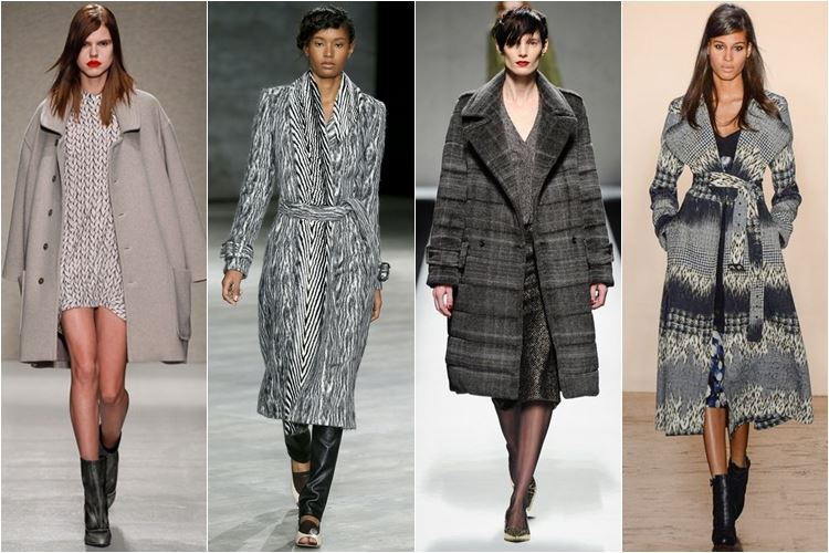 серые пальто осень-зима 2014-2015