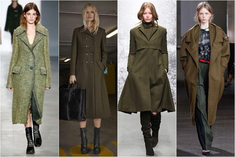 хаки пальто осень-зима 2014-2015