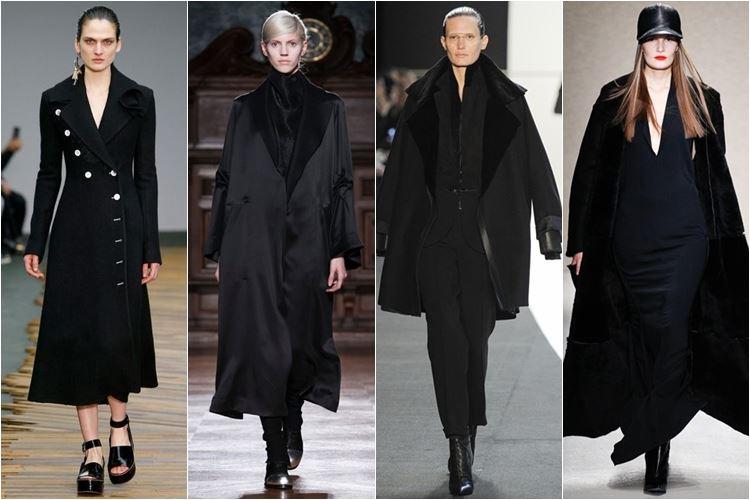 черные пальто осень-зима 2014-2015