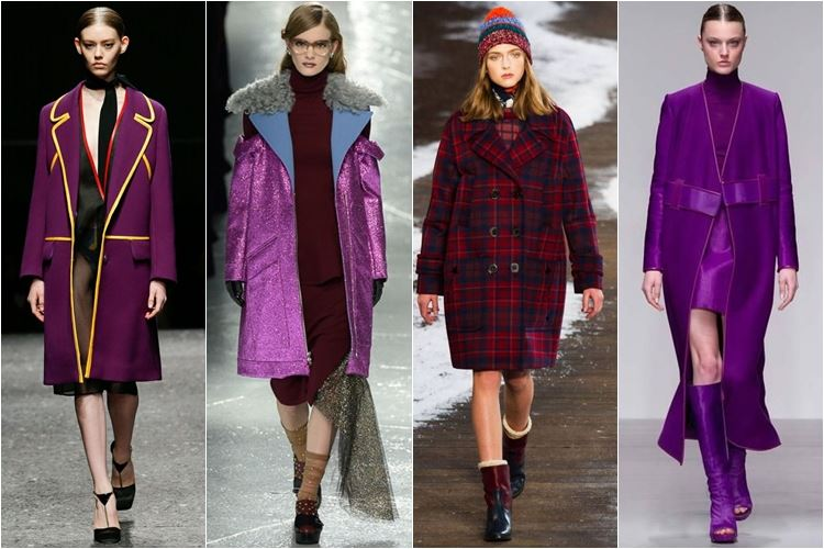 малиновые и фиолетовые пальто осень-зима 2014-2015